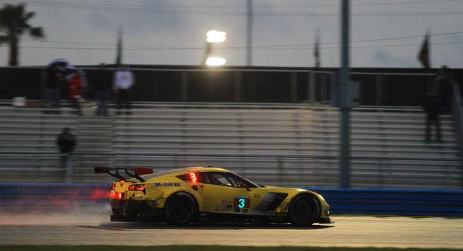 Mike Rockenfeller in the #3 Corvette Racing C7.R led the GT Le Mans class when racing resumed at Daytona. (Chris Jasurek/Epoch Times)