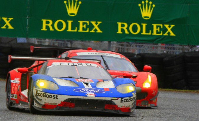 The #66 Ford GT fights off the #62 Risi Ferrari to retain the lead in GT Le Mans. (Chris Jasurek/Epoch Times)