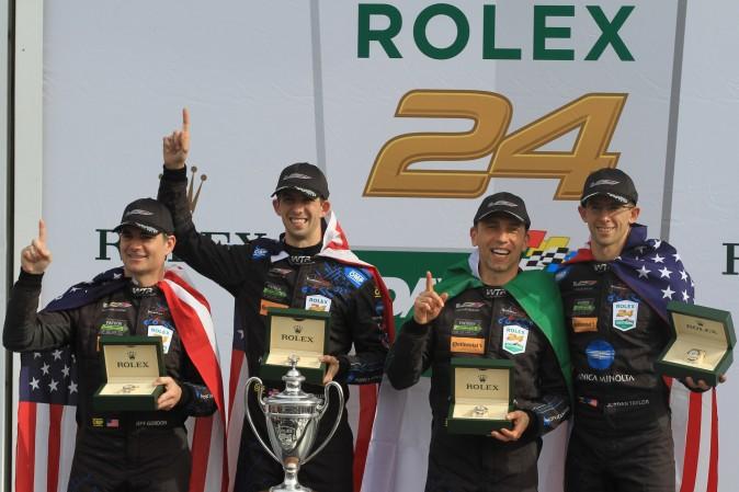Jeff Gordon, Ricky Taylor, Max Angelelli, and Jordan Taylor celebrate winning the55th Rolex 24 at Daytona, Jan. 29, 2017. (Chris Jasurek/Epoch Times)