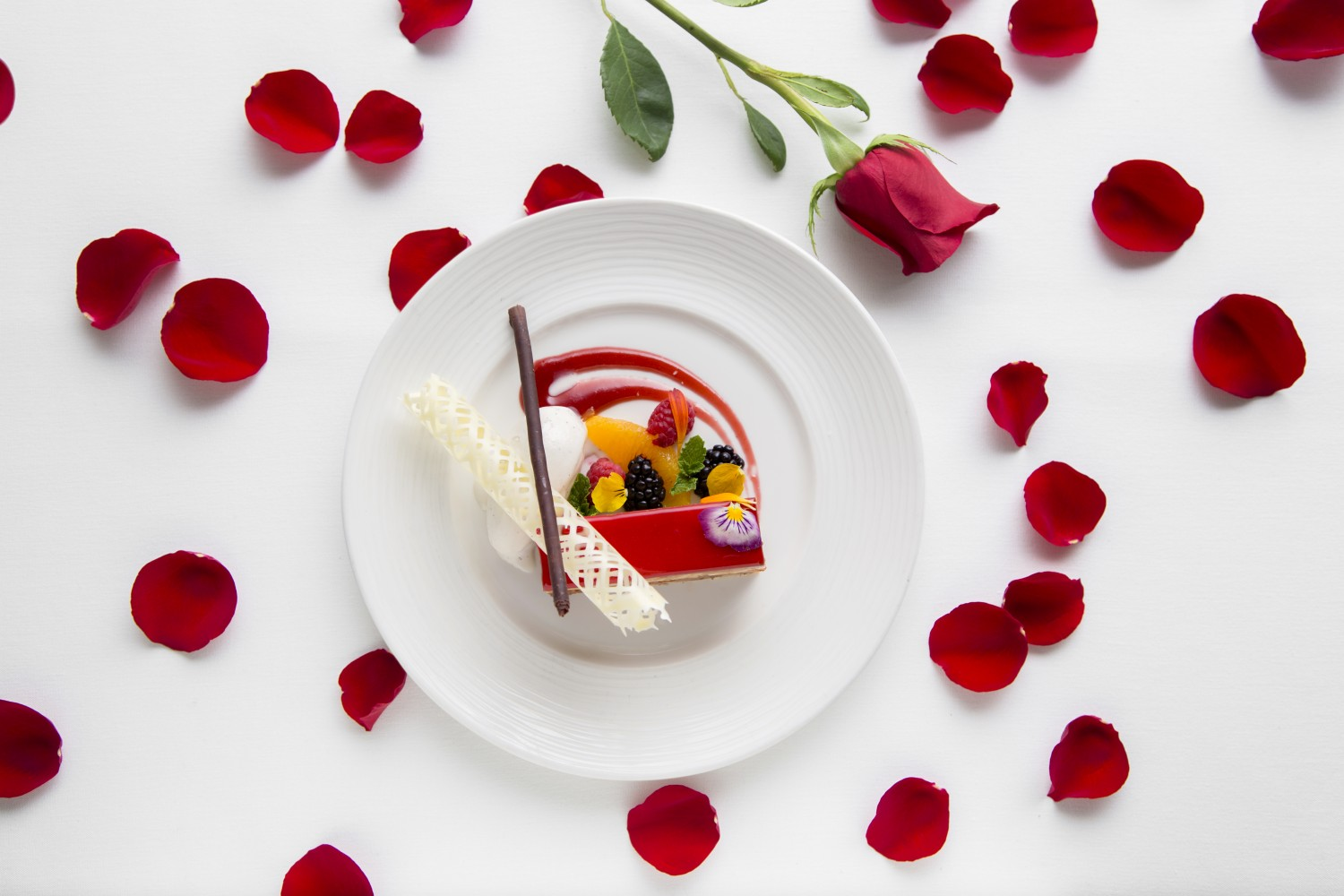 The Sokolatina dessert, with chocolate mousse, almond cake, and raspberry coulis. (Samira Bouaou/Epoch Times)