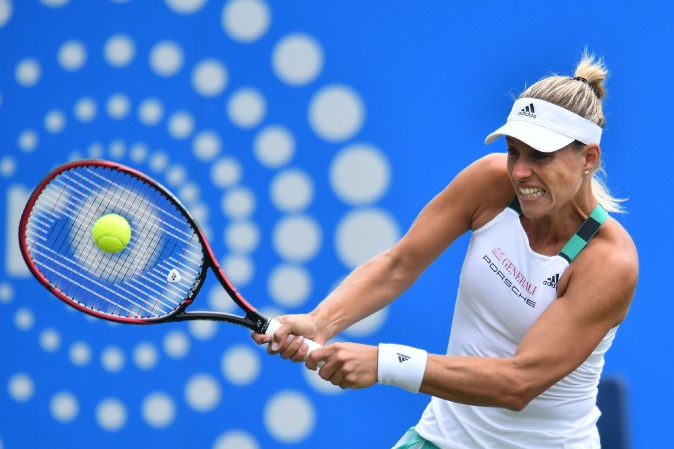 Germany's Angelique Kerber plays a shot against Spain's Lara Arruabarrena during their women's singles third round tennis match at the ATP Aegon International tennis tournament in Eastbourne, southern England, on June 29. (GLYN KIRK/AFP/Getty Images)