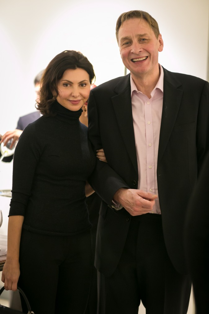 Irina Knaster, founder of Aspect Foundation, and speaker Stephen Johnson during intermission of the Romantic Vienna concert at Columbia University in New York on Jan. 26. (Benjamin Chasteen/Epoch Times)