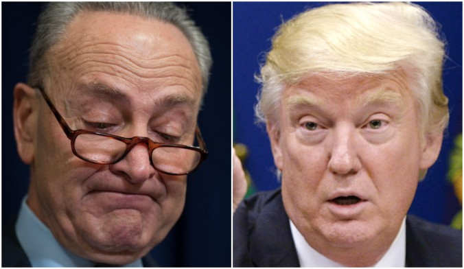 Senator Charles Schumer, D-NY, and President Donald Trump. (BRYAN R. SMITH/AFP/Getty Images; Olivier Douliery-Pool/Getty Images)