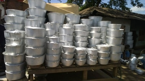 A file photo of aluminum pots made from scrap metal, in a market in Cameroon, Africa. (Courtesy of Occupational Knowledge International)