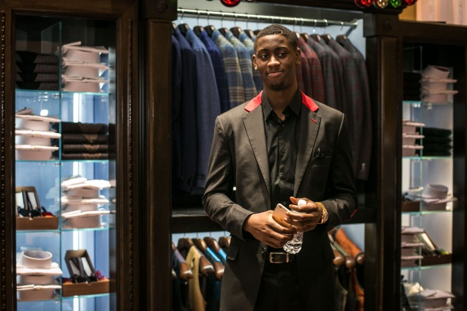 Brand ambassador Brooklyn Net Caris LeVert at the Eredi Pisanò boutique event which is celebrating 15 years on Madison Avenue in New York on Dec. 21, 2016. (Benjamin Chasteen/Epoch Times)