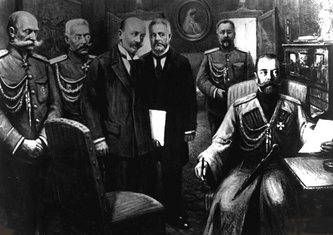 The abdication of Czar Nicholas II (far right) on March 2, 1917. A year later, the rising communist regime had usurped the Provisional Government and murdered the royal family. (Public Domain)