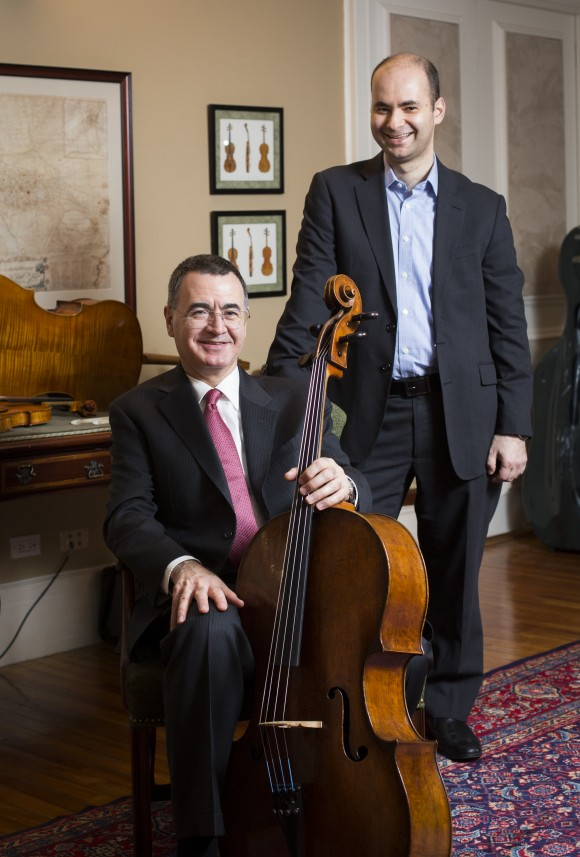 Co-founders Bruno Price (L) and Ziv Arazi at Rare Violins of New York in Manhattan, New York, on Jan. 9, 2017. (Samira Bouaou/Epoch Times)