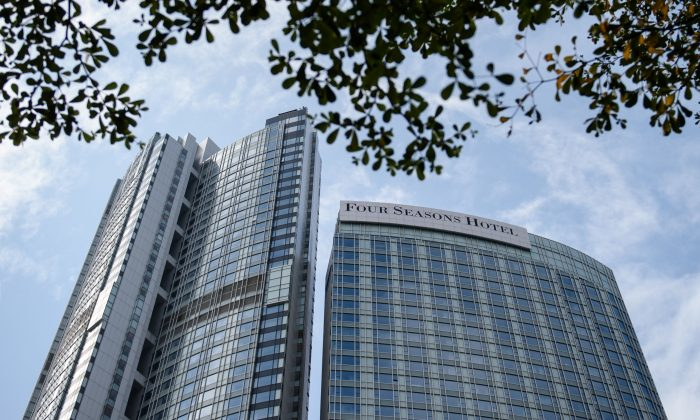The Four Seasons Hotel building in Hong Kong on February 1, 2017. A Chinese billionaire has been abducted in Hong Kong by mainland agents, according to reports on January 31. (Anthony Wallace/AFP/Getty Images)