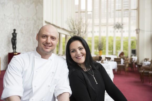 Grand Tier chef Richard Diamonte and opera star Maria Agresta. (Noah Fecks)