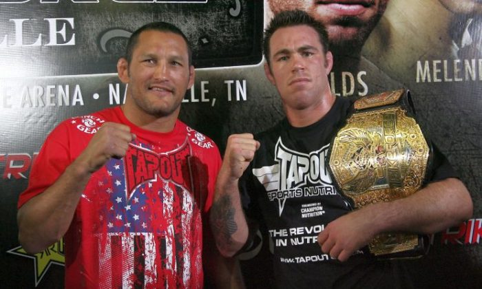Dan Henderson (L) and Strikeforce World Middleweight Champion Jake Shields (R)  at an event March 17, 2010 in Hollywood, California.  (Valerie Macon/Getty Images)