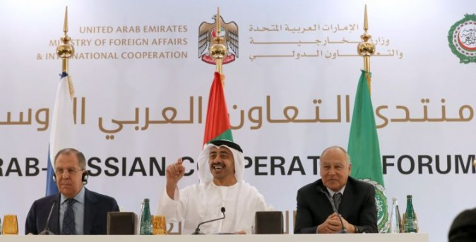 United Arab Emirates' Foreign Minister Sheikh Abdullah bin Zayed al-Nahyan(C), Russian Foreign Minister Sergei Lavrov (L) and Arab League Secretary General Ahmed Aboul-Gheit (R)   are seen during a press conference in Abu Dhabi on February 1, 2017. US President Donald Trump's travel ban on citizens of seven Muslim-majority nations is not anti-Islam, the United Arab Emirates foreign minister said.  / AFP / KARIM SAHIB        (Photo credit should read KARIM SAHIB/AFP/Getty Images)