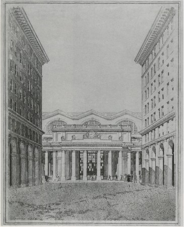 Rendering by Jules Crow from the McKim Mead & White office of the proposed view of 32nd Street leading to Penn Station in which McKim's intent of arcade lined streets is depicted as the frame for the station. Atelier & Co. has proposed to revive that idea in new developments around a rebuilt station. (The Museum of the City of New York)