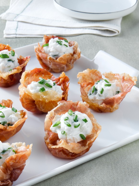 Prosciutto di Parma and Goat Cheese Mousse Cups, recipe courtesy of Legends from Europe. (Legends from Europe)