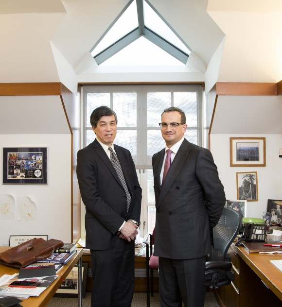 Willy C. Shih (L), Professor of Management Practice  and Gary P. Pisano, Professor of Business Administration at Harvard Business School in his office at Harvard University in Cambridge, Massachusetts, on Jan. 27, 2017. (Samira Bouaou/Epoch Times)