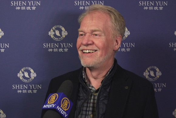 Movie and television director and producer Leif Bristow talks about Shen Yun as a means to understanding how to achieve peace in difficult times. He attended the Cleveland State Theatre on Feb. 5, 2017. (NTD Television)