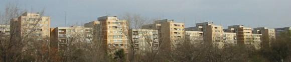 Apartment blocks in Romania. (Public domain)