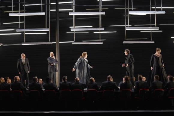 "(l-r) Martin Gantner as Gunther, Ain Anger as Hagen, Christine Goerke as Brünnhilde, Andreas Schager as Siegfried and Ileana Montalbetti as Gutrune the Canadian Opera Company's production of""Götterdämmerung,"" 2017.  (Michael Cooper)"