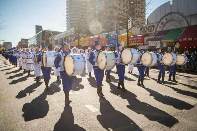 The Tianguo Marching Band performs during the 2017 Flushing Chinese New Year Parade on Feb. 4, 2017. (Benjamin Chasteen/Epoch Times)