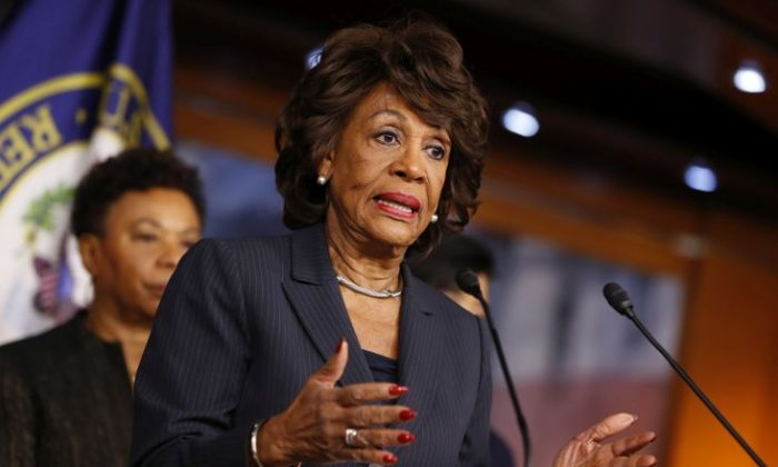 Rep. Maxine Waters (D-Calif.) speaks at a press conference on Capitol Hill Jan. 31, 2017 in Washington. (Aaron P. Bernstein/Getty Images)