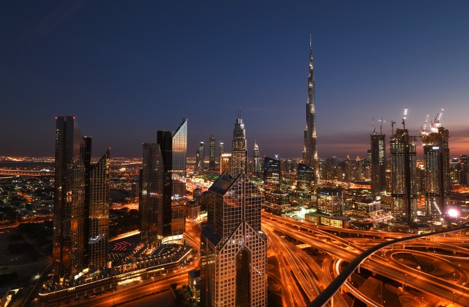 The Burj Khalifa skyscraper towers over the skyline of Dubai, United Arab Emirates, on Feb. 7. (Tom Dulat/Getty Images)