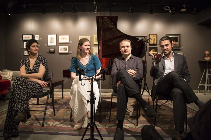 (L-R) Michelle Ross, french horn player Laura Wiener, pianist Adam Golka, and baritone John Moore after a concert at Eleventh Street Arts on Jan. 12. (Samira Bouaou/Epoch Times)