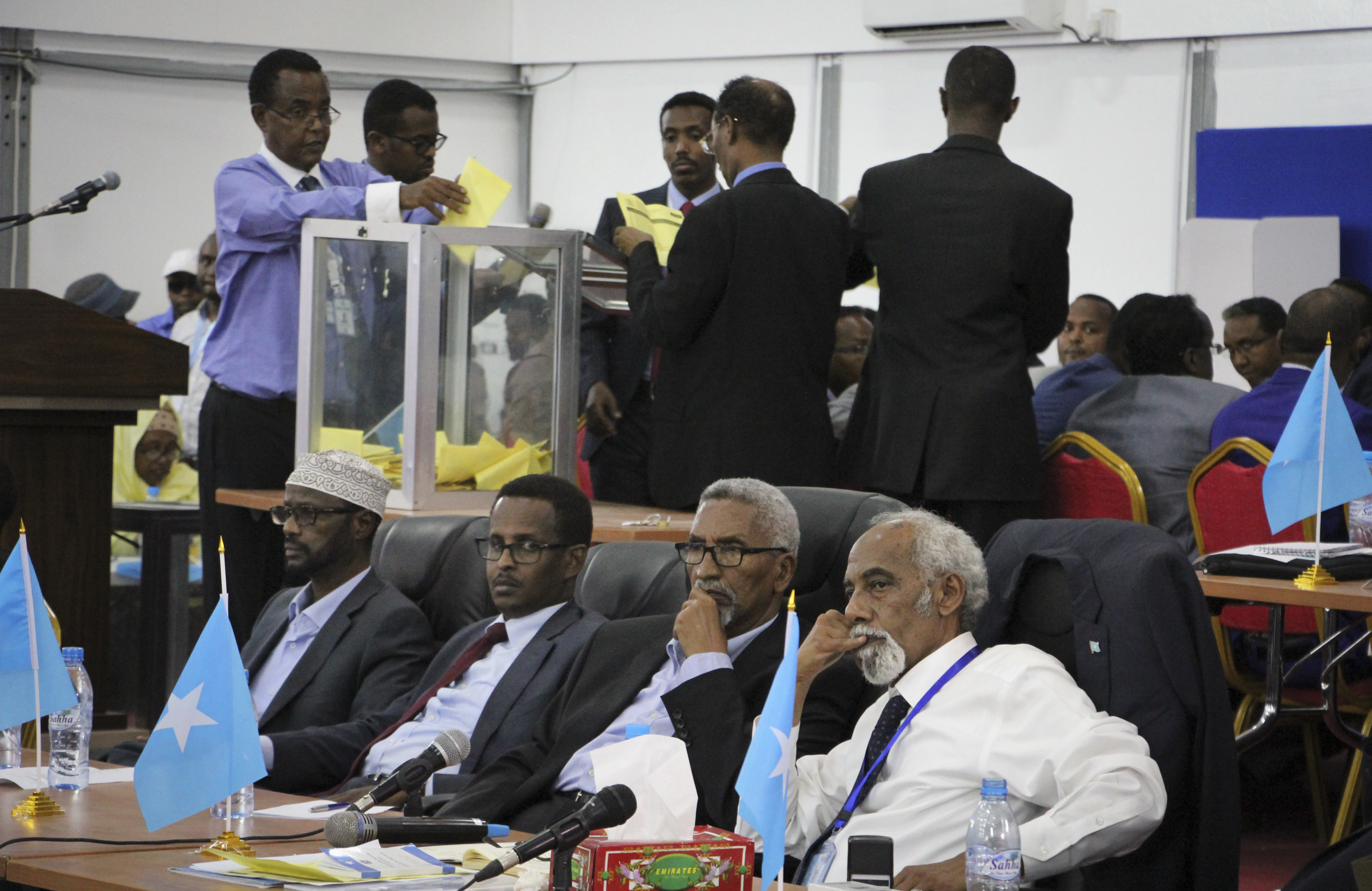 Votes are counted in the first round of the presidential election in Mogadishu, Somalia on Feb. 8, 2017. (AP Photo/Farah Abdi Warsameh)