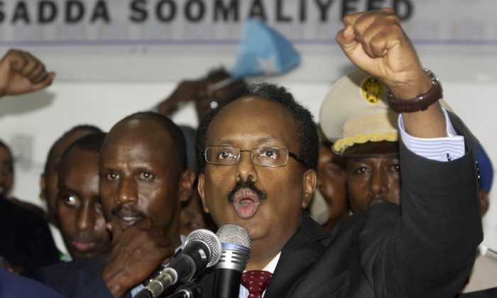 New Somali President Mohamed Abdullahi Farmajo celebrates winning the election and taking office in Mogadishu, Somalia on Feb. 8, 2017. (AP Photo/Farah Abdi Warsameh)