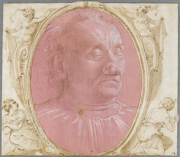 """""""Head of an Old Man,"""" circa 1490, by Domenico Ghirlandaio (Italian, 1449-1494). Silverpoint and point of the brush, heightened with white on pink prepared paper. (Nationalmuseum of Sweden)"""