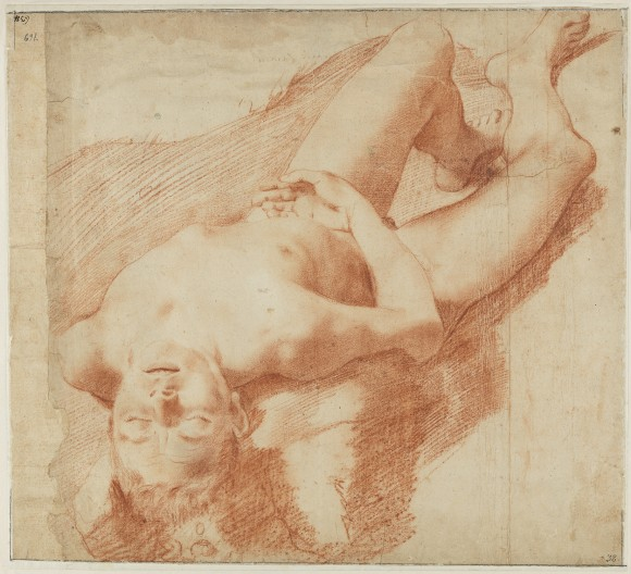 """""""Nude Study of a Young Man Lying on his Back,"""" circa1583-1585, by Annibale Carracci (Italian, 1560–1609). Red chalk. (Nationalmuseum of Sweden)"""
