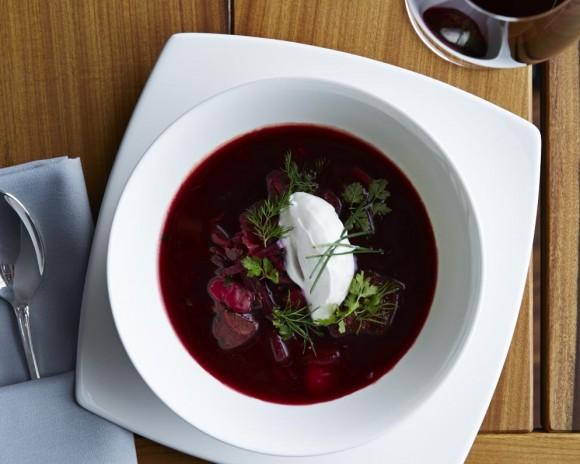 Coffeemania's take on borscht is light and tangy. (Armando Rafael)