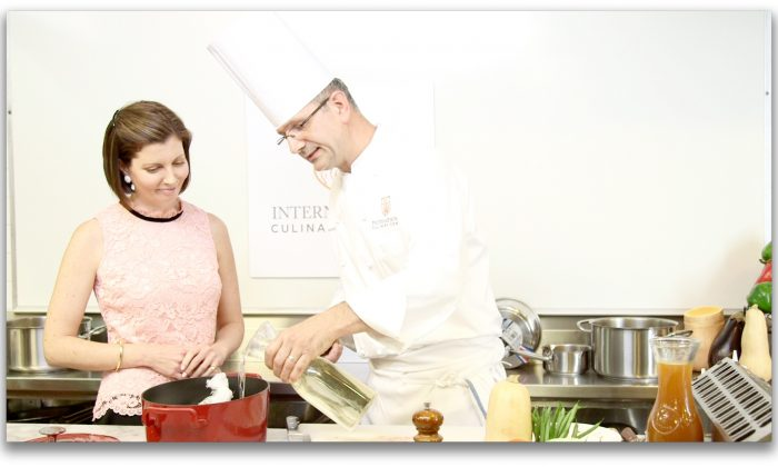 Sibylle Eschapasse and chef Marc Bauer at the International Culinary Center. (Melinda Martinez/Celebrity Taste Makers)