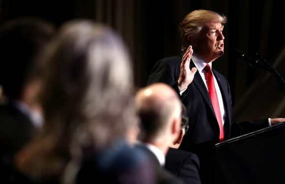 President Donald Trump addresses the National Prayer Breakfast February 2, 2017 in Washington, DC. Every U.S. president since Dwight Eisenhower has addressed the annual event. (Win McNamee/Getty Images)