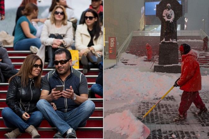 People sit atop of the stairs of the TKTS ticket booth in Times Square as temperatures reached a high of 60 degrees on Feb. 8, (L) and in less than 12 hours a worker shovels snow in the same area during a massive snow storm on Feb. 9 as temperatures are set to go as low as 5 degrees. (Drew Angerer/Getty Images)