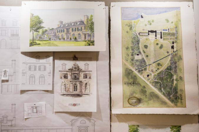 Drawings from the Atelier & Co. architectural  design firm in Williamsburg, Brooklyn, on Jan. 19, 2017. (Samira Bouaou/Epoch Times)