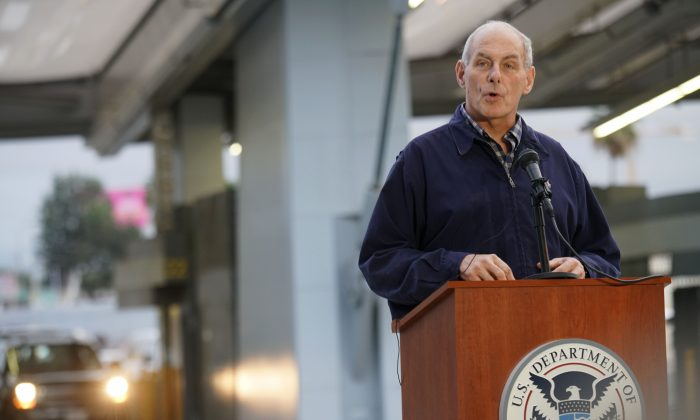 US Department of Homeland Security (DHS) Secretary John Kelly speaks to reporters during a press conference at the San Ysidro Port of Entry on Feb. 10, 2017. Kelly met with DHS employees and state and local law enforcement officials. (SANDY HUFFAKER/AFP/Getty Images)