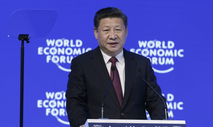 Chinese leader Xi Jinping attends the World Economic Forum in Davos on Jan. 17, 2017. (Fabrice Coffrini/AFP/Getty Images)