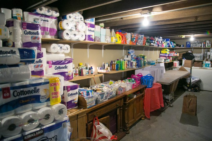 Home and hygiene supplies inside the I Grow Chicago Peace House in which anyone from the neighborhood can come and take what they need for free. (Benjamin Chasteen/Epoch Times)