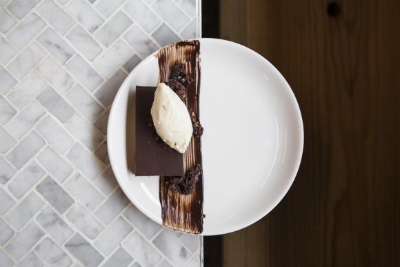 Chocolate Tart dessert with hazelnut crunch and cinnamon-fresno chile ice cream. (Samira Bouaou/Epoch Times)