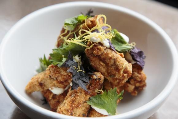Hot Fried Eggplant with lime yogurt and shiso leaf. (Samira Bouaou/Epoch Times)