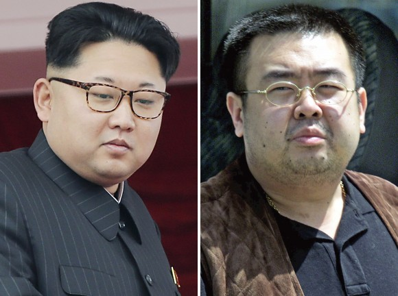 FILE - This combination of file photos shows North Korean leader Kim Jong Un, left, on May 10, 2016, in Pyongyang, North Korea, and Kim Jong Nam, right, exiled half brother of Kim Jong Un, in Narita, Japan, on May 4, 2001. Kim Jong Nam, 46, was targeted Monday, Feb. 13, 2017, at the Kuala Lumpur International Airport, Malaysia, and later died on the way to the hospital according to a Malaysian government official. (AP Photos/Wong Maye-E, Shizuo Kambayashi, File)