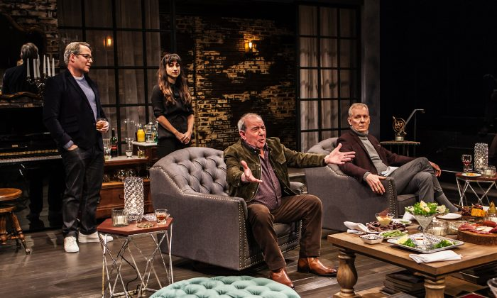 """(L–R) Matthew Broderick, Annapurna Sriram, Michael Tucker, John Epperson, in Wallace Shawn's """"Evening at the Talk House."""" The world has changed since these theater folk last got together. (Monique Carboni)"""