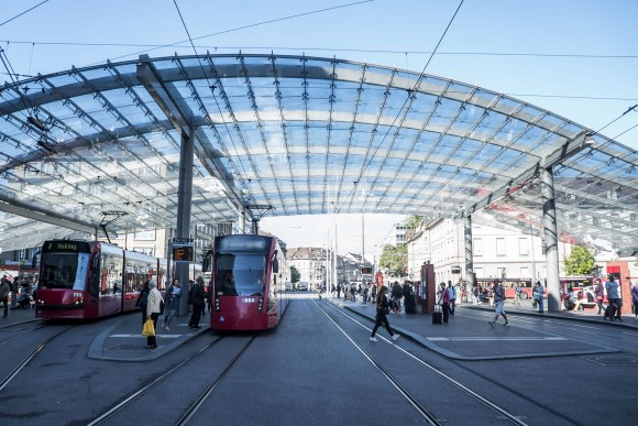 The huge glazed steel  canopy at Station Square in Bern. (Mohammed Reza Amirinia)