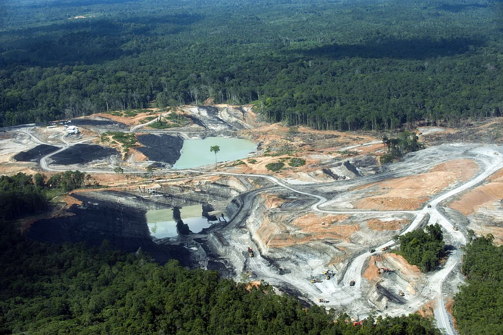 A coal mining concession area in the middle of tropical forest in Central Kalimantan province on Indonesia's Borneo island on June 7, 2012. (Romeo Gacad/AFP/Getty Images)