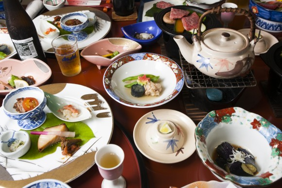 A spread of dishes at the Soba-an Shizukatei Inn in Hiraizumi. (Annie Wu/Epoch Times)