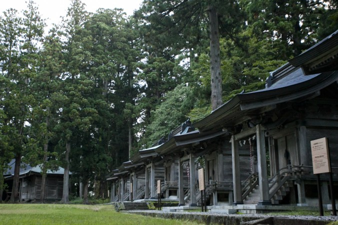 A lineup of smaller shrines at Mount Haguro. (Annie Wu/Epoch Times)