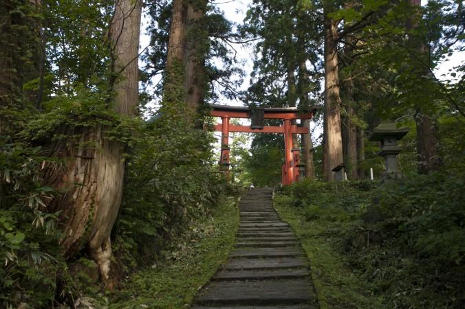 The torii gate entrance to Mount Haguro shrine. (Annie Wu/Epoch Times)