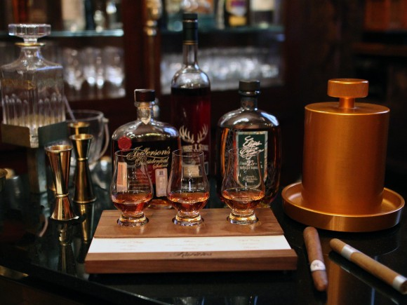 Whiskey flight at Rarities. (Courtesy of Rarities)