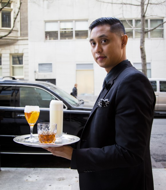 Head bartender Darryl Chan at Bar Pleiades, is featuring classic New Orleans cocktails for the Voyages menu at Café Boulud.  (Samira Bouaou/Epoch Times)
