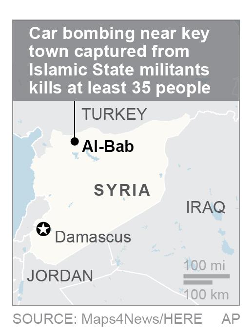 Map locates Al-Bab, Syria. (Via AP)