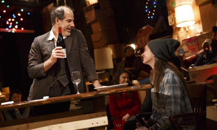 """Geoff Sobelle and a guest from the audience in his one-man theater experience, """"The Object Lesson."""" (Joan Marcus)"""